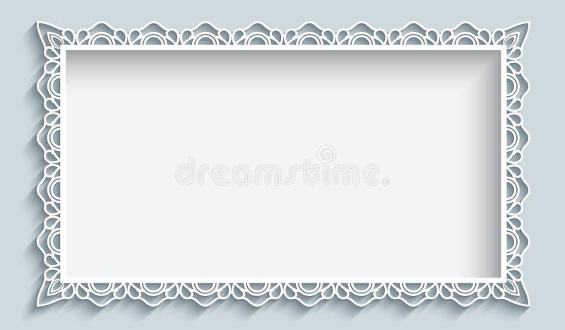 Cadre de rectangle avec la frontière de papier de dentelle illustration de vecteur