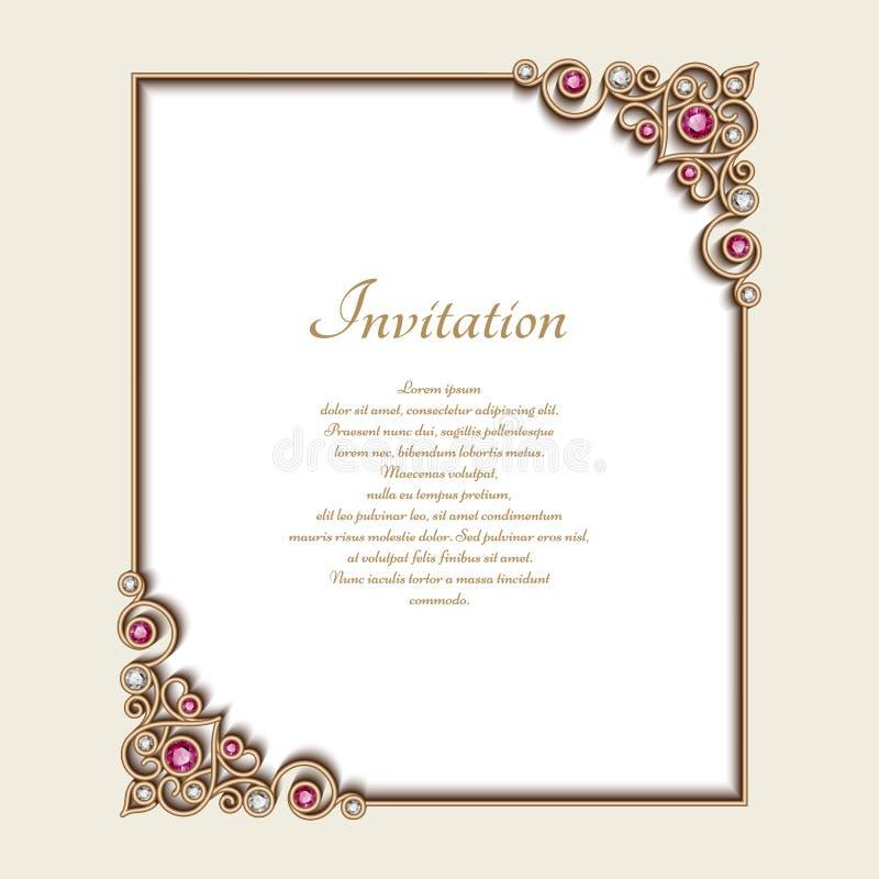 Cadre de rectangle d'or de vintage avec les ornements faisants le coin illustration stock