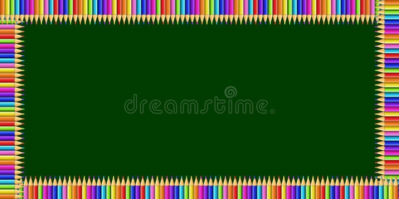 Cadre de rectangle fait de crayons colorés sur le fond de tableau et l'espace verts de copie illustration de vecteur