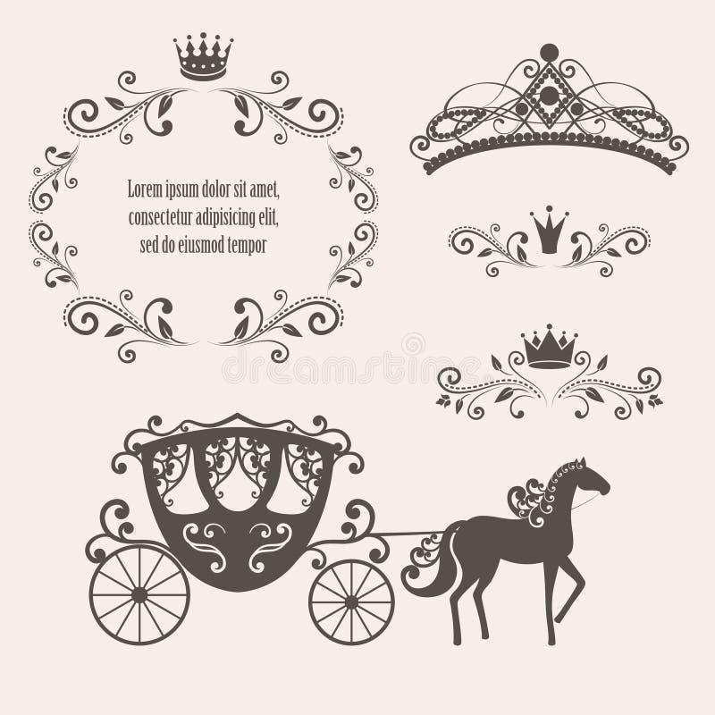 cadre de redevance de vintage avec la couronne illustration de vecteur
