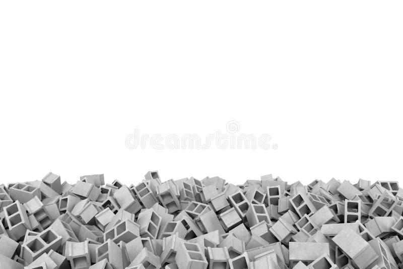 Cadre de rendu fait de blocs de cendre gris se trouvant au fond sur le fond blanc illustration stock