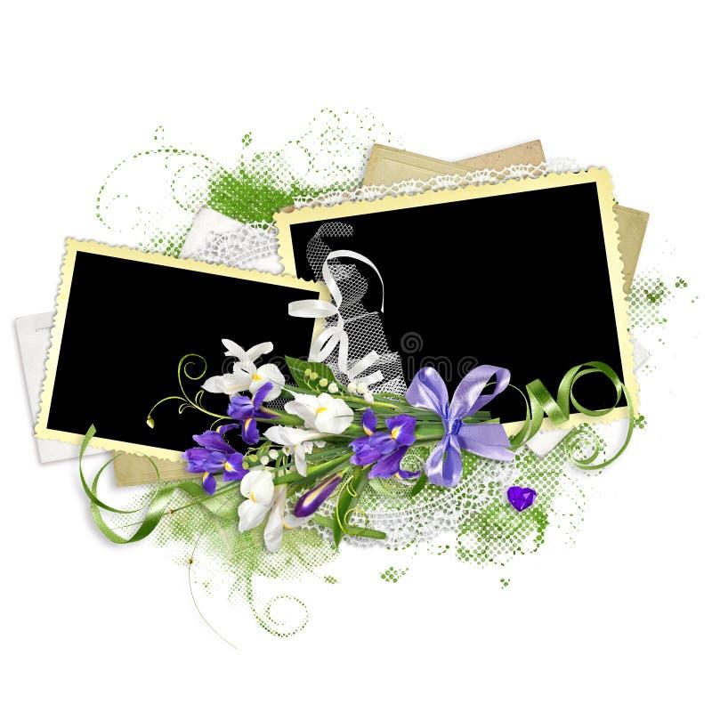 Cadre de ressort avec des iris sur la pile de papier images libres de droits