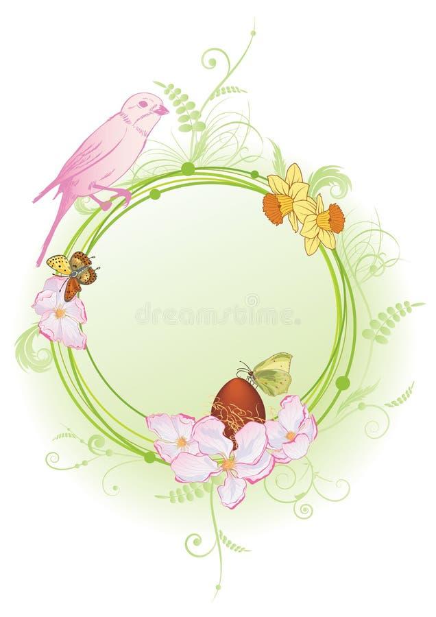 Cadre de ressort avec l'oiseau, les fleurs et les papillons illustration stock