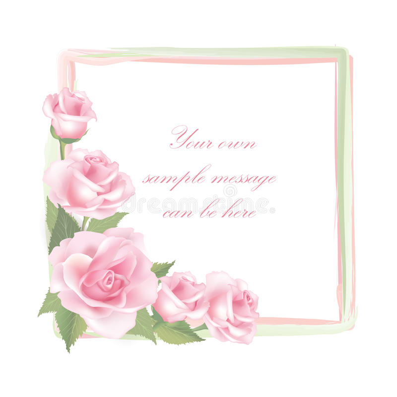 Cadre de Rose de fleur d'isolement sur le fond blanc Décor floral de vecteur illustration libre de droits
