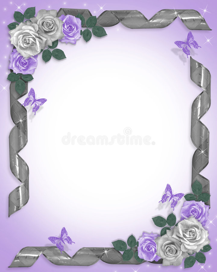 Cadre de roses et de bandes de lavande illustration stock