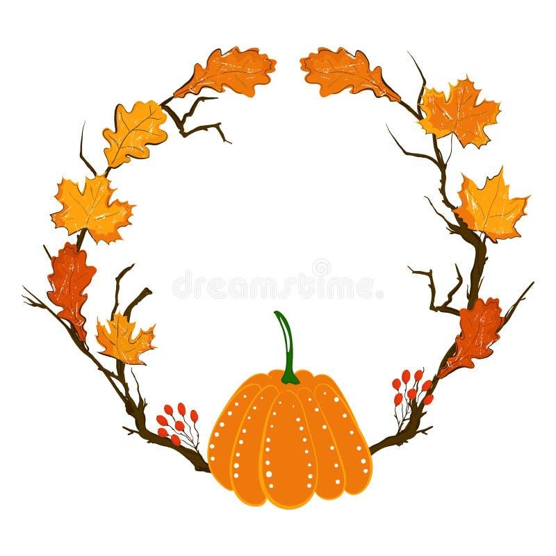 Cadre de saison d'automne avec le potiron, les feuilles d'érable et les baies rouges, branche sèche Élément de décoration de chut illustration de vecteur