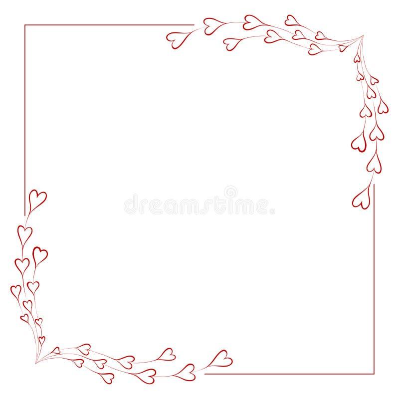 Cadre de salutation pour le jour de valentine illustration stock