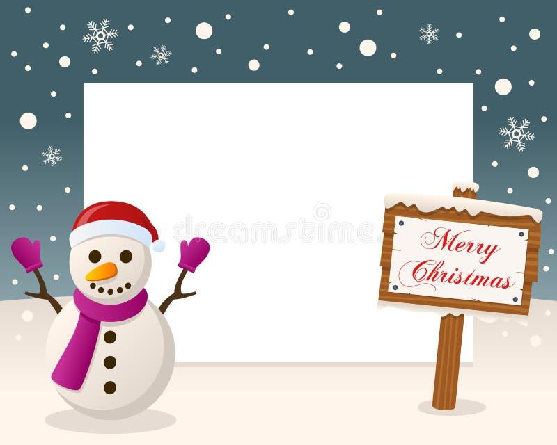 Cadre de signe de Joyeux Noël - bonhomme de neige illustration stock