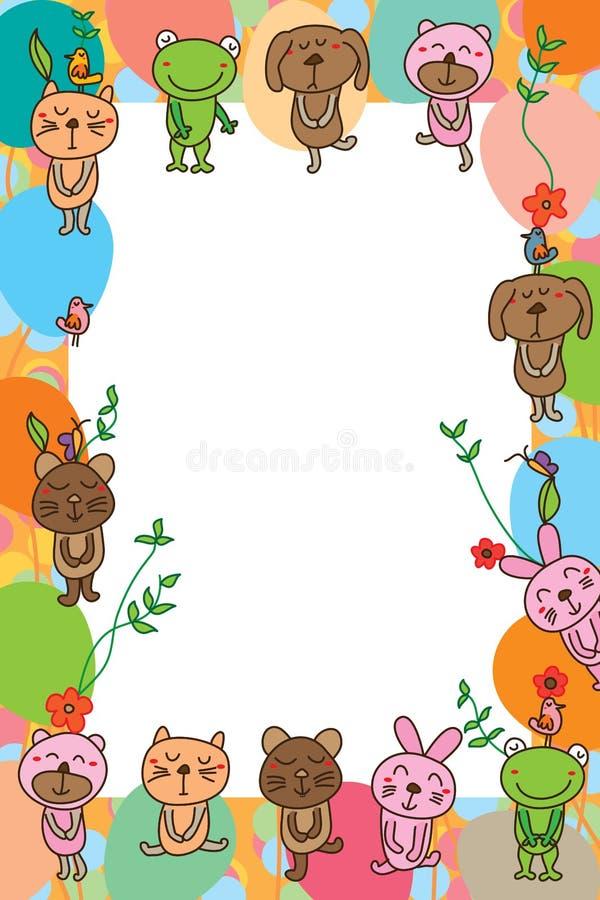 Cadre de souris de lapin de grenouille d'ours de chien de chat illustration de vecteur