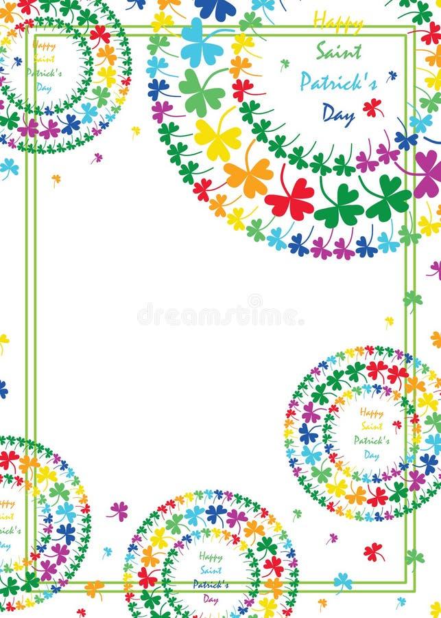 Cadre de style d'arc-en-ciel de trèfle de cercle de mandala de jour du ` s de St Patrick illustration libre de droits