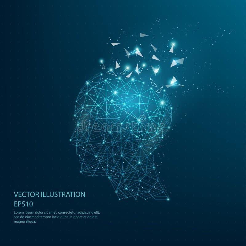 Cadre de tête de penseurs dessiné par Digital bas poly et de fil de cerveau illustration de vecteur