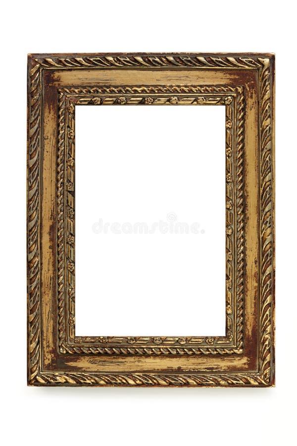 Cadre de tableau élégant minable doré au-dessus de blanc images libres de droits
