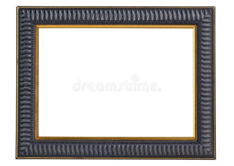Cadre de tableau bleu-foncé et d'or - chemin de découpage images libres de droits