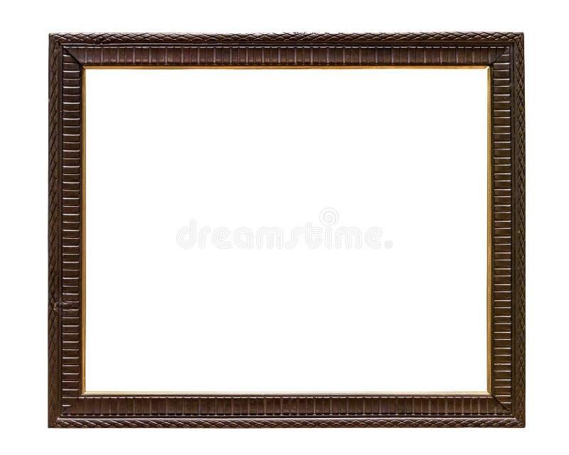 Cadre de tableau décoratif en bois foncé sur le backround blanc photos libres de droits