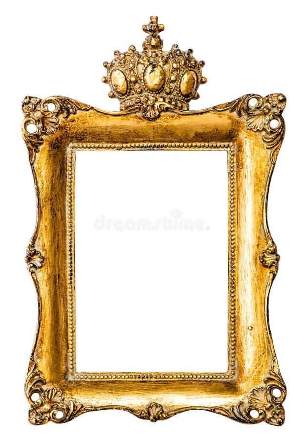 Cadre de tableau d'or baroque avec la couronne Objet de vintage image libre de droits