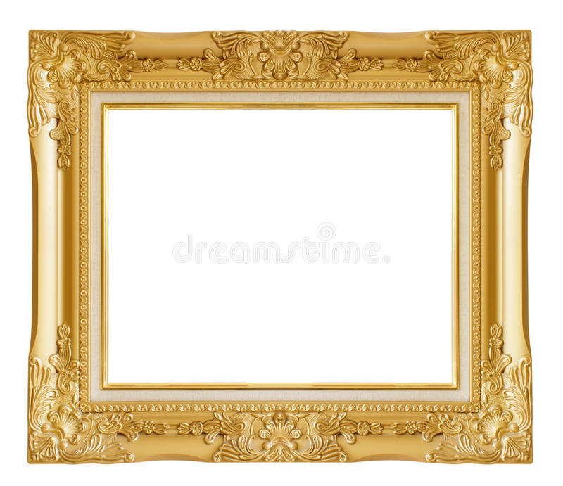 Cadre de tableau d'or D'isolement au-dessus du fond blanc photographie stock libre de droits