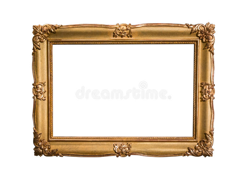Cadre de tableau d'or d'isolement sur le fond blanc photographie stock libre de droits