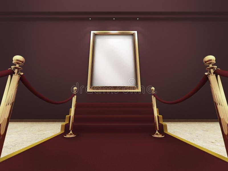 Cadre de tableau d'or dans une rampe grande illustration stock