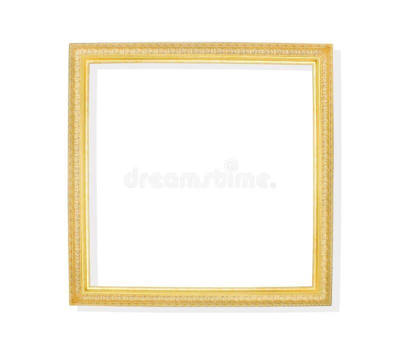 Cadre de tableau d'or d'isolement sur le fond blanc avec le chemin de coupure illustration stock