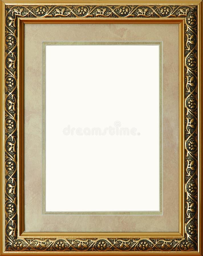 Cadre de tableau d'or rustique antique d'isolement photo libre de droits