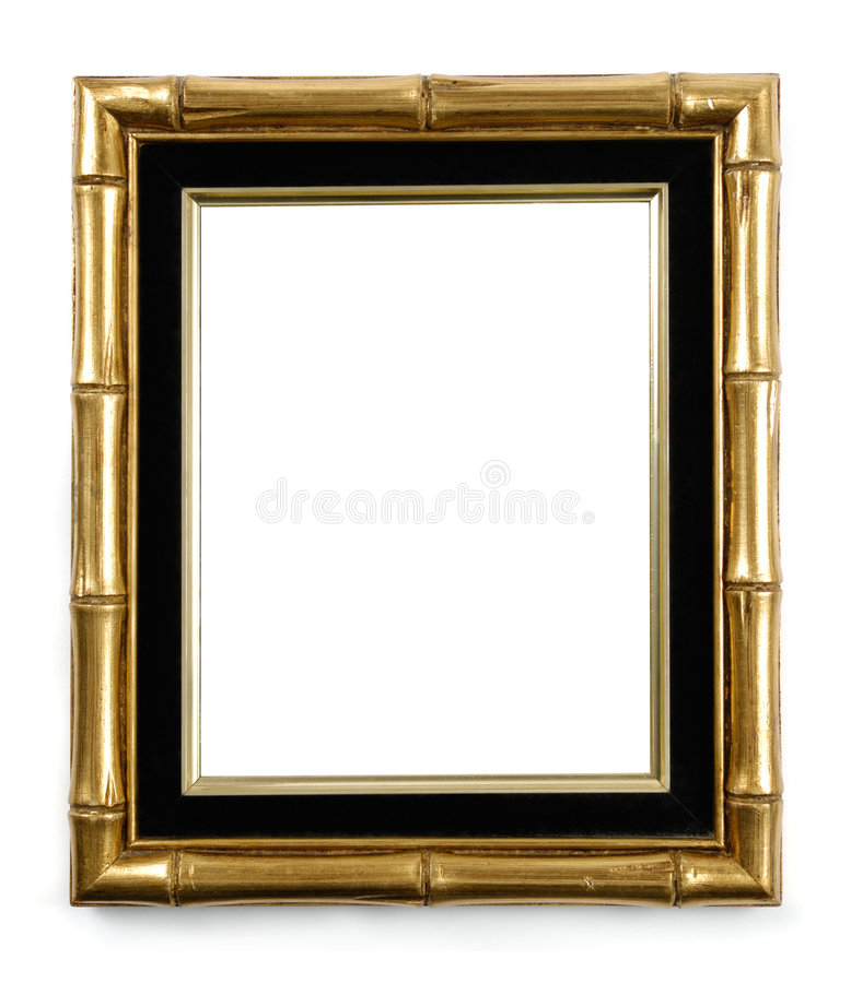 Cadre de tableau en bambou doré photographie stock