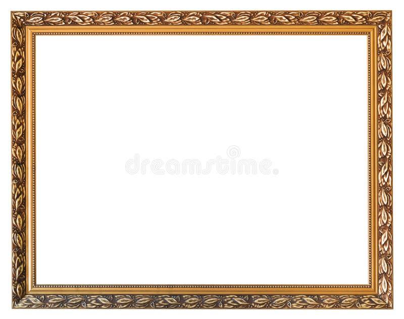 Cadre de tableau en bois d'or découpé d'isolement image libre de droits