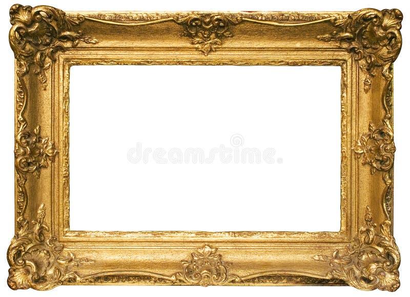 Cadre de tableau en bois plaqué par or avec le chemin photographie stock libre de droits