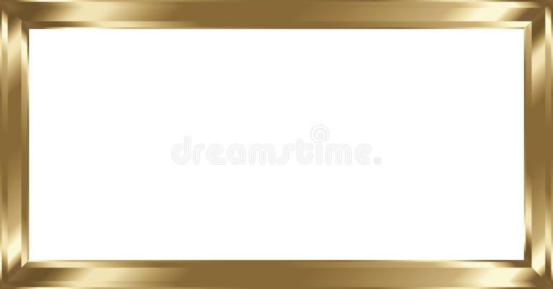 Cadre de tableau en laiton en métal sur le blanc illustration de vecteur
