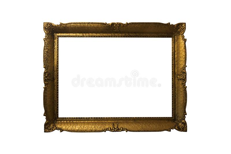 Cadre de tableau fleuri d'or d'isolement sur le fond blanc Antiqu images stock