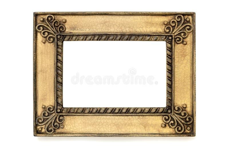 Cadre de tableau grunge doré d'isolement sur le blanc photo stock