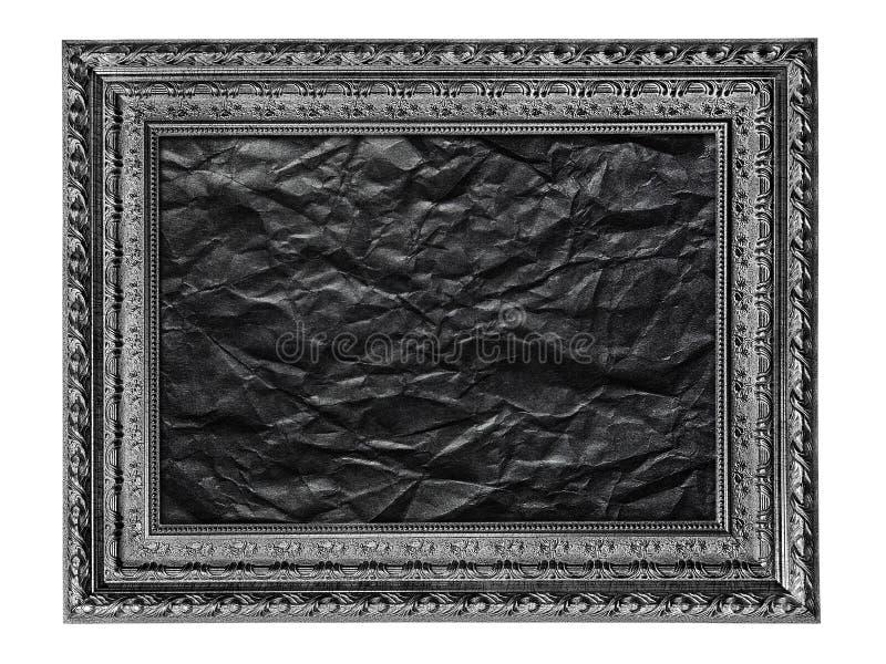 Cadre de tableau noir et blanc avec le papier noir chiffonné d'isolement image stock
