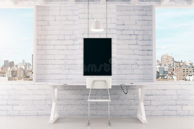 Cadre de tableau noir vide sur le mur de briques et les fenêtres blancs dans le lof illustration de vecteur