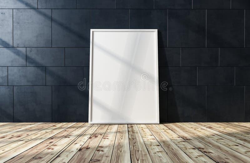 Cadre de tableau ou toile blanc vide sur le plancher illustration de vecteur