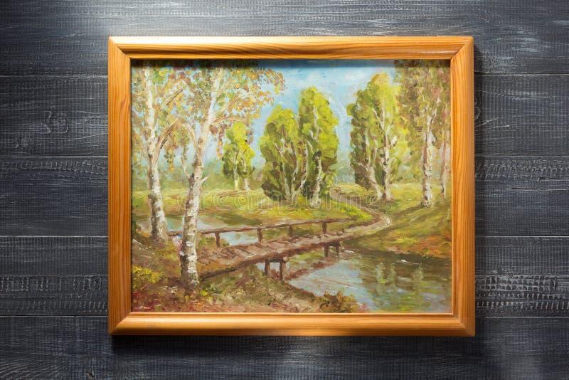 Cadre de tableau de photo au fond en bois photos stock
