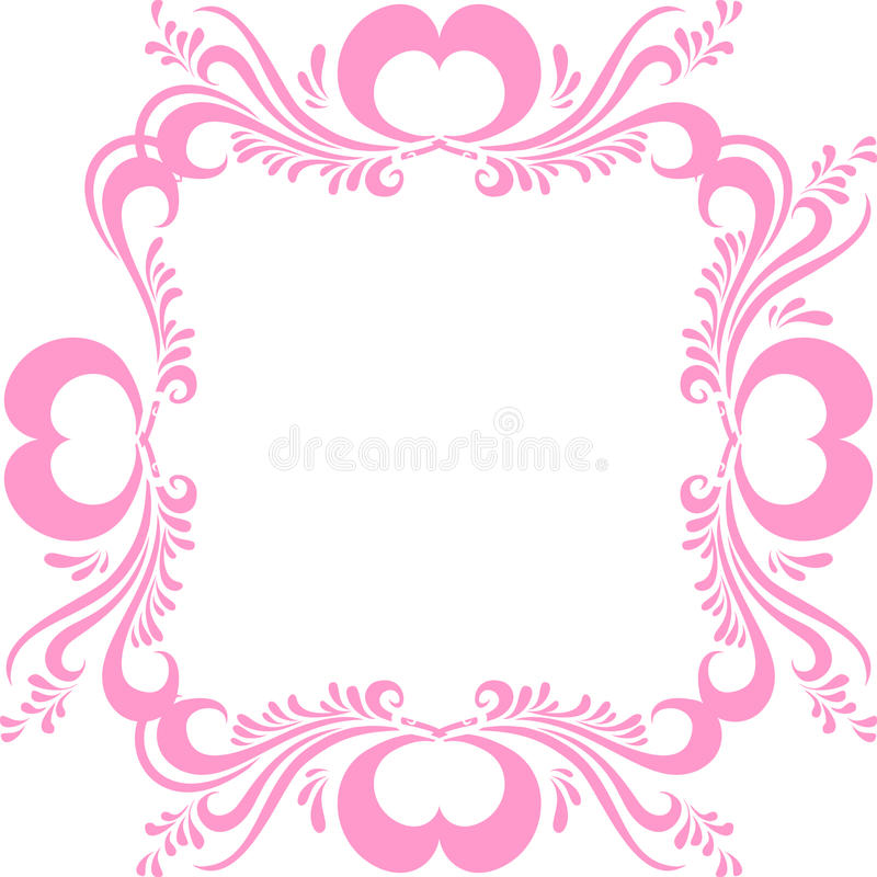 cadre de tableau rose stylis avec le mod le fleuri et coeurs pour la saint valentin vue pour. Black Bedroom Furniture Sets. Home Design Ideas