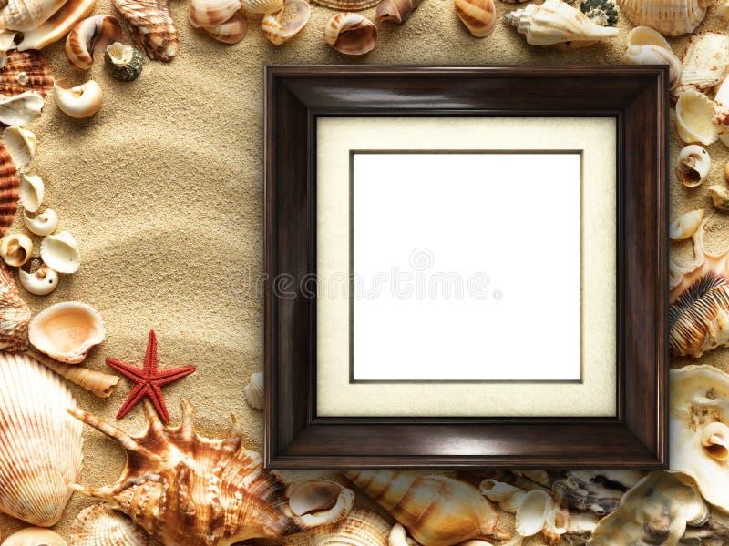 Cadre de tableau sur les coquilles et le fond de sable image stock