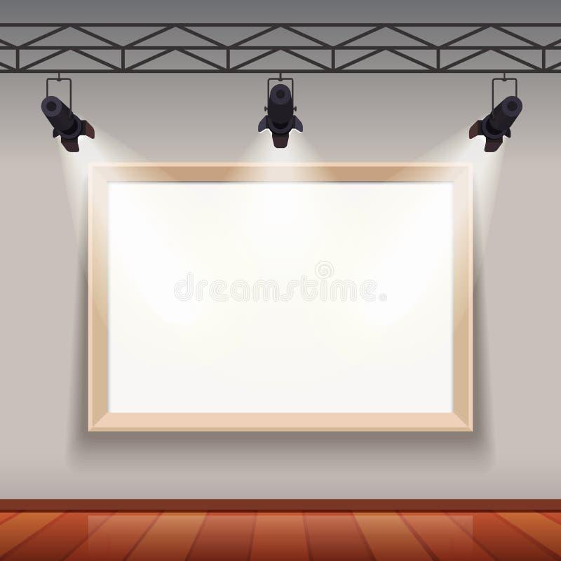 Cadre de tableau vide dans le hall de pièce de musée d'arts illustration de vecteur