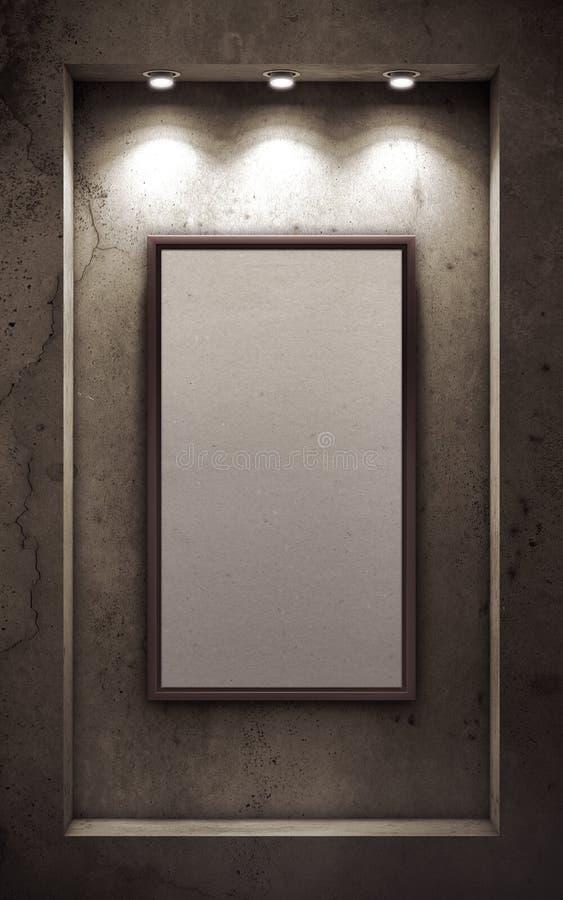 cadre de tableau vide sur le vieux mur en b ton illustration stock illustration du mat riel. Black Bedroom Furniture Sets. Home Design Ideas