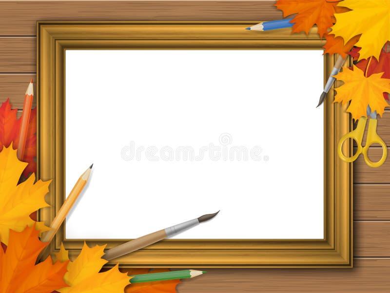 Cadre de tableau de vintage d'or avec des feuilles d'automne et des approvisionnements d'art illustration libre de droits