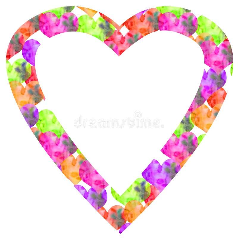 Cadre de texture de valentine d'aquarelle tirée par la main beaucoup de petits coeurs dans grand illustration de vecteur