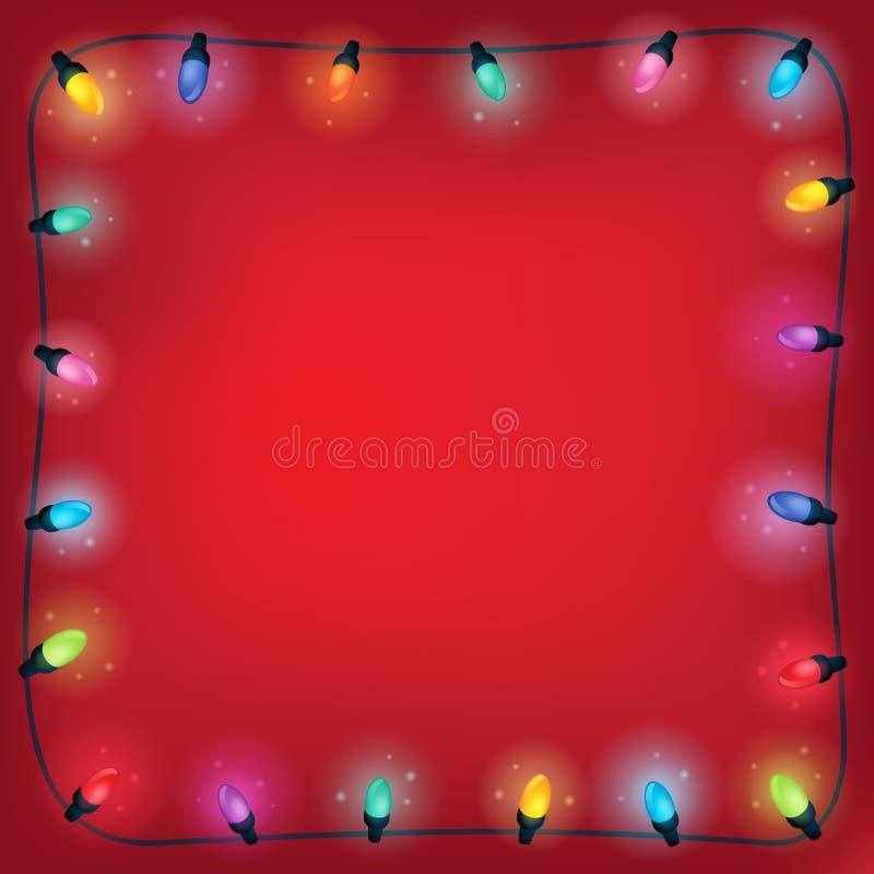 Cadre 1 de thème de lumières de Noël illustration de vecteur