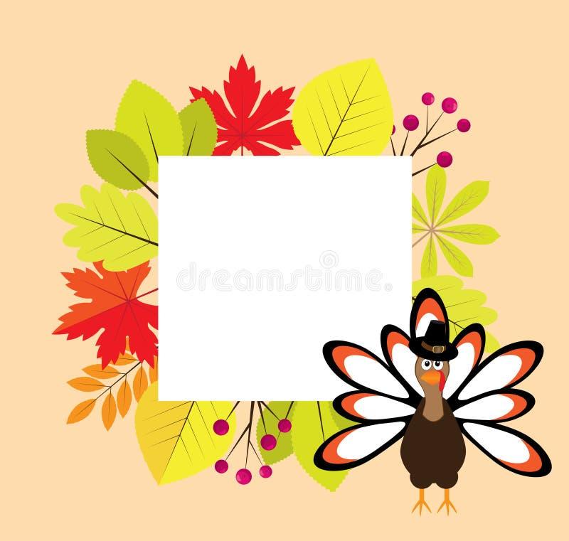 Cadre de thanksgiving de vecteur avec des feuilles d'automne et un oiseau de la Turquie illustration stock