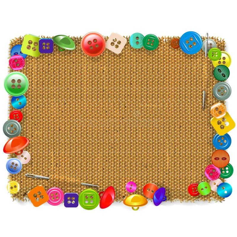 Cadre de toile à sac de vecteur avec des boutons illustration libre de droits