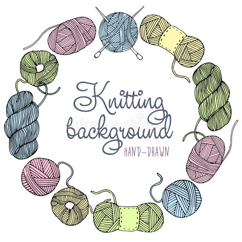 Cadre de tricotage tiré par la main illustration stock