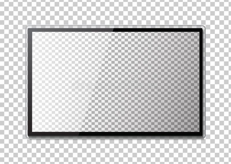 Cadre de TV Videz le moniteur mené de l'ordinateur ou du cadre noir de photo illustration libre de droits