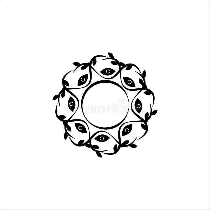 Cadre de vecteur d'ornement floral Élément de empaquetage de luxe pour des emblèmes de fleuriste, emballage organique de cosmétiq illustration de vecteur