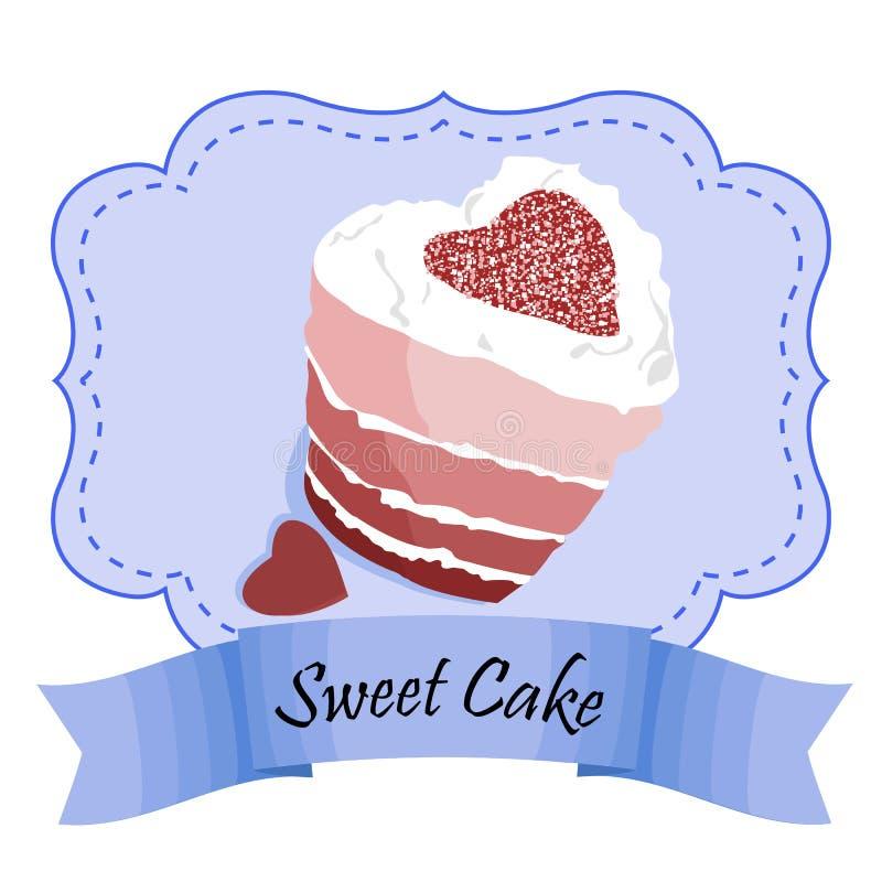 Cadre de vecteur de conception avec le gâteau et les biscuits rouges de velours Illustration de vecteur d'ENV 10 image stock