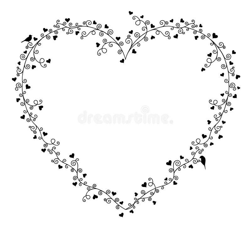 Cadre de vecteur de Saint-Valentin pour le texte, la composition des branches d'arbre bouclées avec beaucoup de coeurs et deux oi illustration de vecteur