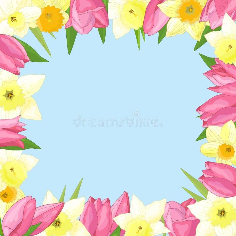 Cadre de vecteur des fleurs de ressort illustration de vecteur