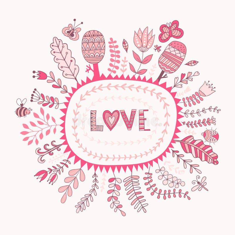 Cadre de vecteur et lettrage floraux d'amour L'amour de mot fond romantique Fleurs et feuille botaniques d'éléments illustration stock